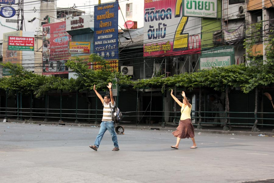 More dangerous than usual: crossing the street in Bangkok
