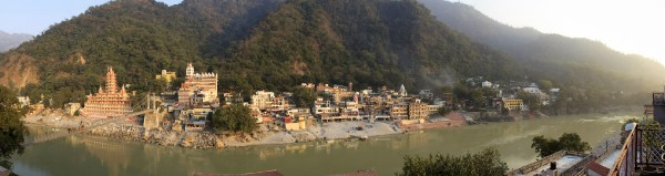 Panorama of Rishikesh on the Banks of hte Ganges, India