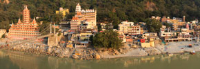 Panoramic Photo: The Sacred Town of Rishikesh on the Ganges River