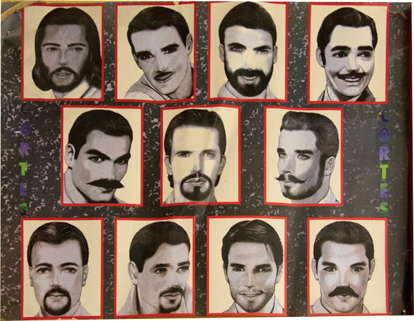 Weird Beards: Vintage Barbershop Posters from Guatemala, with Ricky Gervais and Tony Danza?